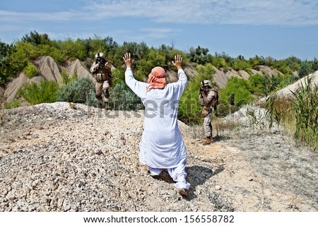 The capture of of the Muslim warrior - stock photo