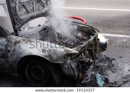 The car after the fire. Moscow, housing estate. - stock photo