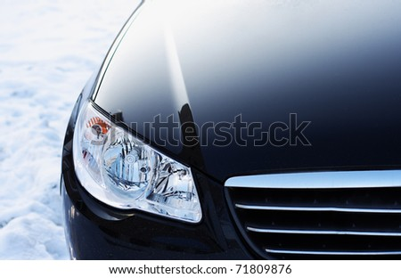 The car close up, on a snow - stock photo