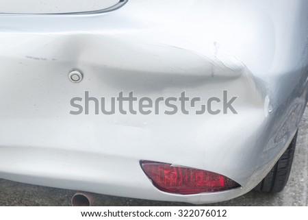 The car has dents.Car accident - stock photo
