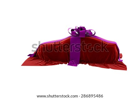 The car is covered by a cloth. Bow and ribbons on cars. 3D.