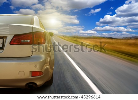 The car on highway - stock photo
