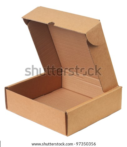 The cardboard box is empty and open. Object is isolated on white background without shadows.