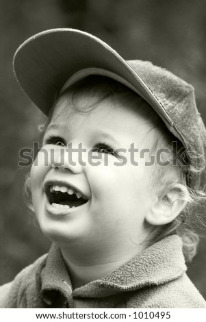 The carefree dared laughing boy - stock photo