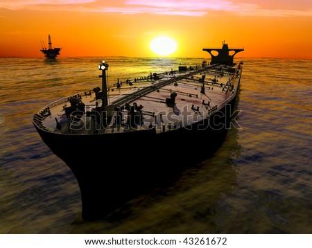 The cargo ship in the sea illustration - stock photo