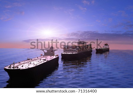 The cargo ships in the sea - stock photo