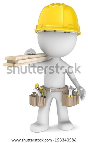 The Carpenter. Dude the Carpenter, carrying tools and wood planks. - stock photo