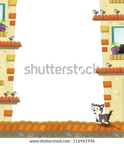 The cartoon animals in the city - border - frame - illustration for the children