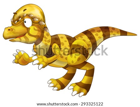 The cartoon dinosaur - isolated - illustration for the children - stock photo