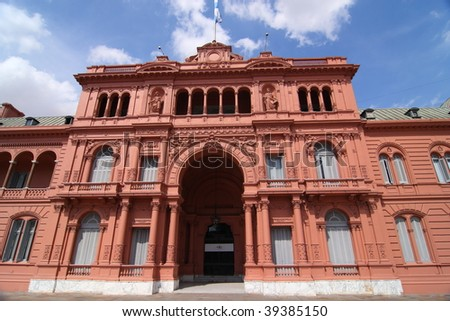The Casa Rosada (Pink House), the presidential palace of Argentina, located in central Buenos Aires - stock photo