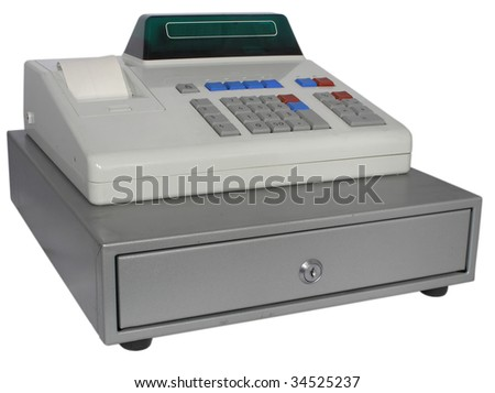 The cash register isolated with the display - stock photo