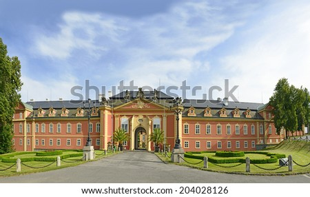 The castle Dobris in Central Bohemia - the rococo chateau with a distinguished facade, Czech Republic, Europe - stock photo