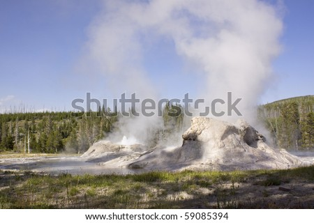 The Castle geyser in Yellowstone - stock photo
