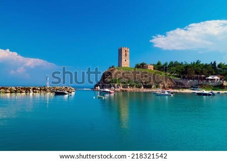 The castle in the seaside, Fokies, Chalkidiki, Greece - stock photo