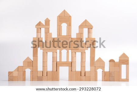 The castle made up with wooden blocks. - stock photo