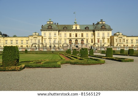 The castle of Drottningholm in Stockholm, Sweden - summer residence of the swedish royal family. - stock photo