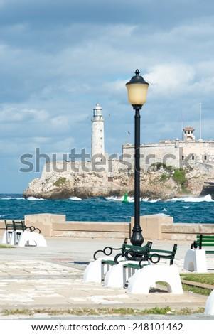 The castle of El Morro, a symbol of the city of Havana - stock photo