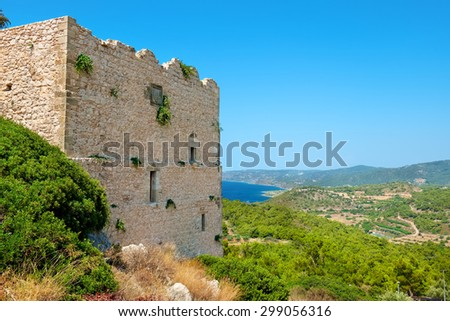 The castle of Kritinia (Kastelos), is a Venetian castle built in the 14th century on a hill about 131 meters above the village of Kritinia. Rhodes, Greece - stock photo