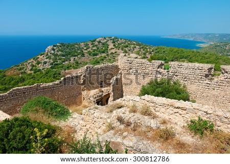 The castle of Kritinia (Kastelos), is a Venetian castle built in the 14th century. Rhodes, Greece - stock photo