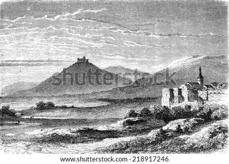 The castle of Landsberg and Werra, vintage engraved illustration. Le Tour du Monde, Travel Journal, (1872). - stock photo