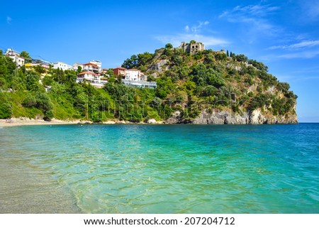 The Castle of Parga near the Valtos beach - stock photo