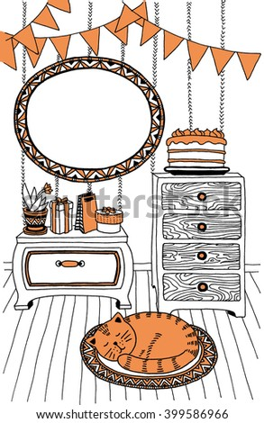The cat in the room. Picture with orange accents. Illustration. Template frame for text. Line-art. - stock photo