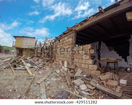 The Catastrophic Earthquake That Destroyed Buildings In Ecuador, South America  - stock photo