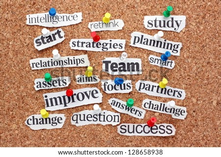 The catchwords for success in business and change management pinned to a cork notice board