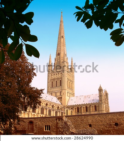 the cathederal in norwich, norfolk, for protestant worship, church of england - stock photo