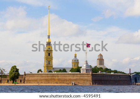 The cathedral and chapel in fortress Petropavlovskaya, Saint-Petersburg, Russia - stock photo