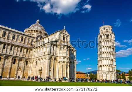 The Cathedral and the Tower of Pisa - Italy - stock photo