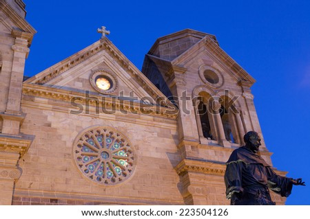 The Cathedral Basilica of Saint Francis of Assisi at twilight in Santa Fe, New Mexico. - stock photo