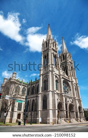 The Cathedral Basilica of the Immaculate Conception in Denver, Colorado on a sunny day - stock photo