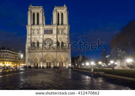 The cathedral Notre Dame of Paris, France, at twilight - stock photo