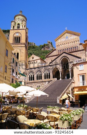 The Cathedral of Amalfi in the coastal town in southern Italy - stock photo