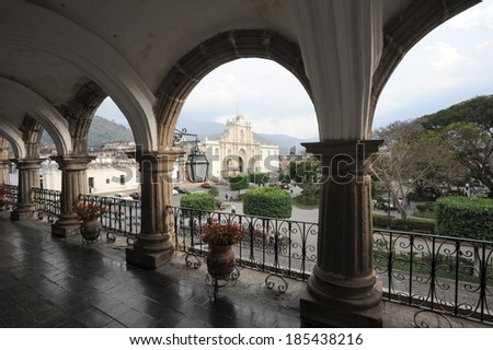 The cathedral of Antigua on Guatemala - stock photo