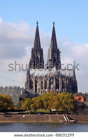the Cathedral of Cologne and the Rhine River - stock photo