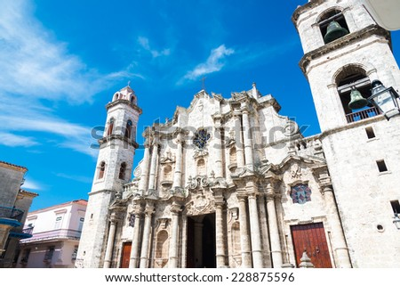 The Cathedral of Havana on a beautiful sunny day - stock photo