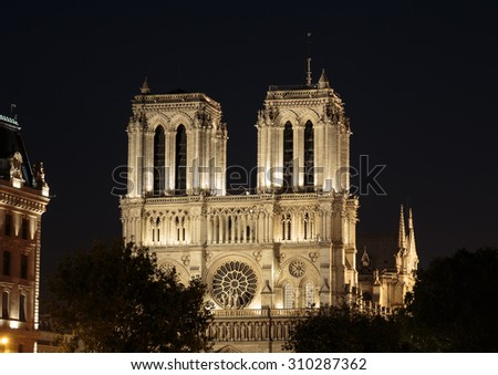 The cathedral of Notre Dame in Paris in France  - stock photo