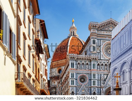 The Cathedral of Saint Mary of the Flower (Florence Cathedral) at historic center of Florence, Tuscany, Italy. View from the Piazza San Giovanni. Dome on blue sky background. - stock photo