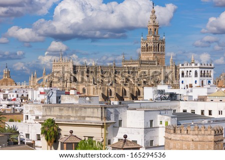 The Cathedral of Saint Mary of the See in the historic district of Seville - stock photo