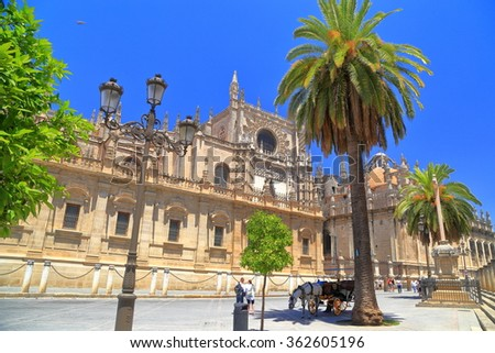 The Cathedral of Saint Mary of the See (Seville Cathedral) in Seville, Andalusia, Spain - stock photo