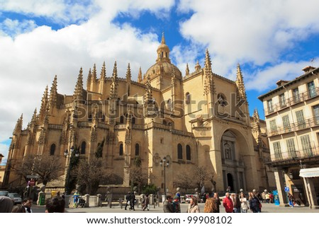 The Cathedral of Segovia (Spain) - stock photo