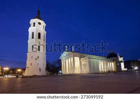 The Cathedral Square in central Vilnius during twilight time, Lithuania, Europe - stock photo