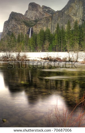 The Cathedrals as seen from the Merced River - stock photo