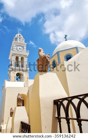 The catholic cathedral situated in the capital town of fira on the greek island of santorini. - stock photo
