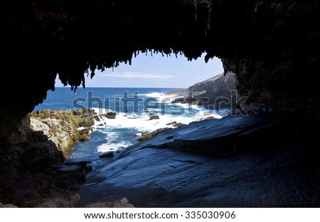 The cave of Admirals Arch on Kangaroo Island, South Australia - stock photo