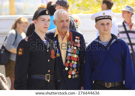 The celebration of Victory Day in Sevastopol Crimea 9 of May 2015 year. Photoshooting with Veteran.