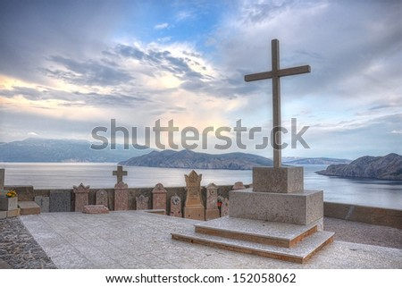 The cemetery of Baska town in Krk Island,Croatia. The cemetery was once situated in the middle of the old town. It is at 200 m above the sea. - stock photo