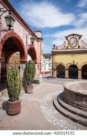 the center of Bernal, Queretaro - stock photo